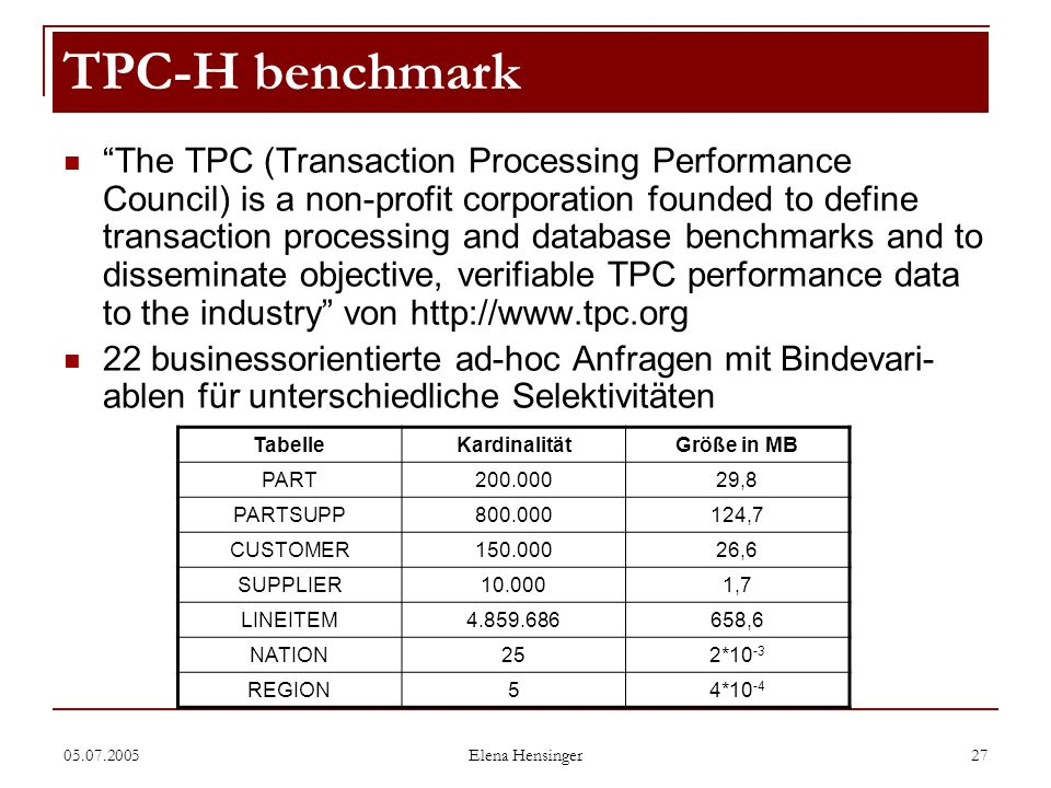 05.07.2005 Elena Hensinger 27 The TPC (Transaction Processing Performance Council) is a non-profit corporation founded to define transaction processin