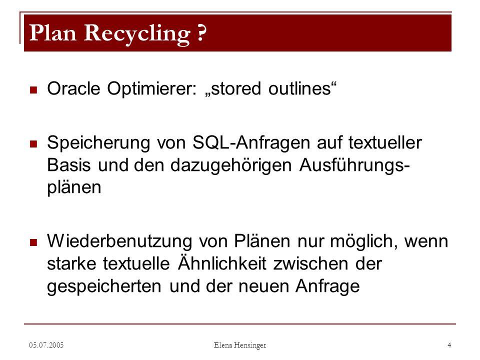 05.07.2005 Elena Hensinger 4 Oracle Optimierer: stored outlines Speicherung von SQL-Anfragen auf textueller Basis und den dazugehörigen Ausführungs- p