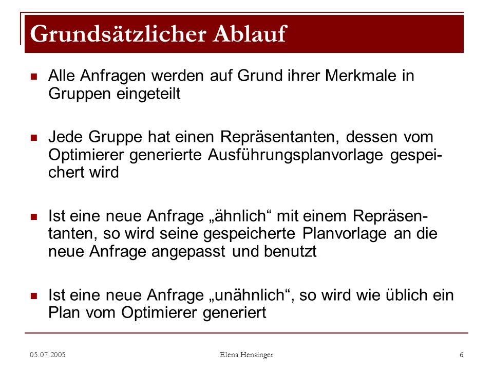 05.07.2005 Elena Hensinger 6 Alle Anfragen werden auf Grund ihrer Merkmale in Gruppen eingeteilt Jede Gruppe hat einen Repräsentanten, dessen vom Opti