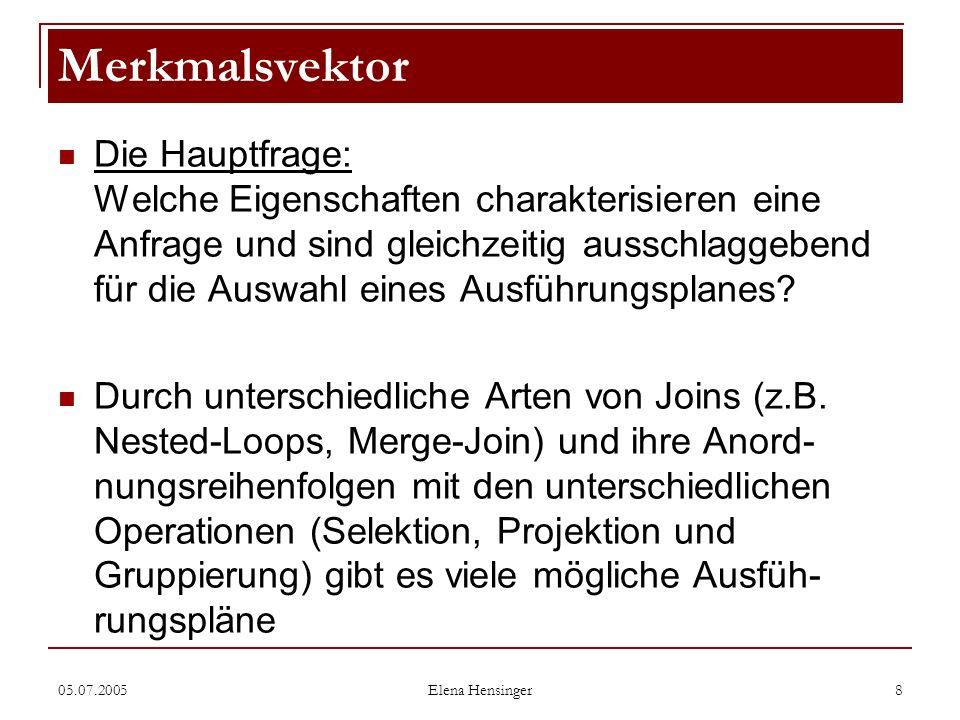 05.07.2005 Elena Hensinger 8 Die Hauptfrage: Welche Eigenschaften charakterisieren eine Anfrage und sind gleichzeitig ausschlaggebend für die Auswahl