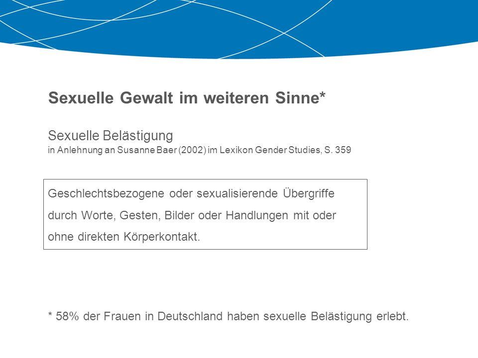 Sexuelle Gewalt im weiteren Sinne* Sexuelle Belästigung in Anlehnung an Susanne Baer (2002) im Lexikon Gender Studies, S. 359 Geschlechtsbezogene oder