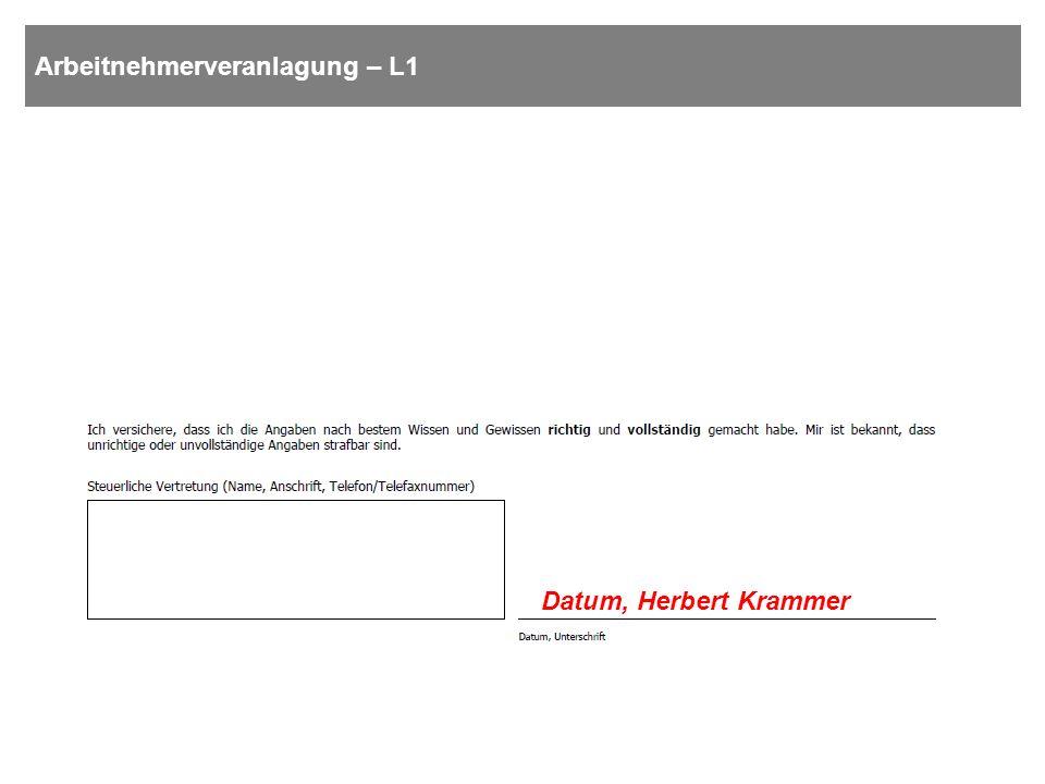 Arbeitnehmerveranlagung – L1 Datum, Herbert Krammer