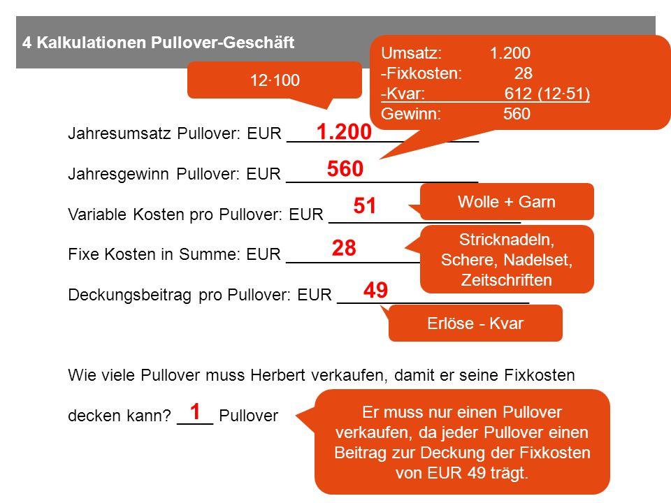 4 Kalkulationen Pullover-Geschäft Jahresumsatz Pullover: EUR _____________________ Jahresgewinn Pullover: EUR _____________________ Variable Kosten pr
