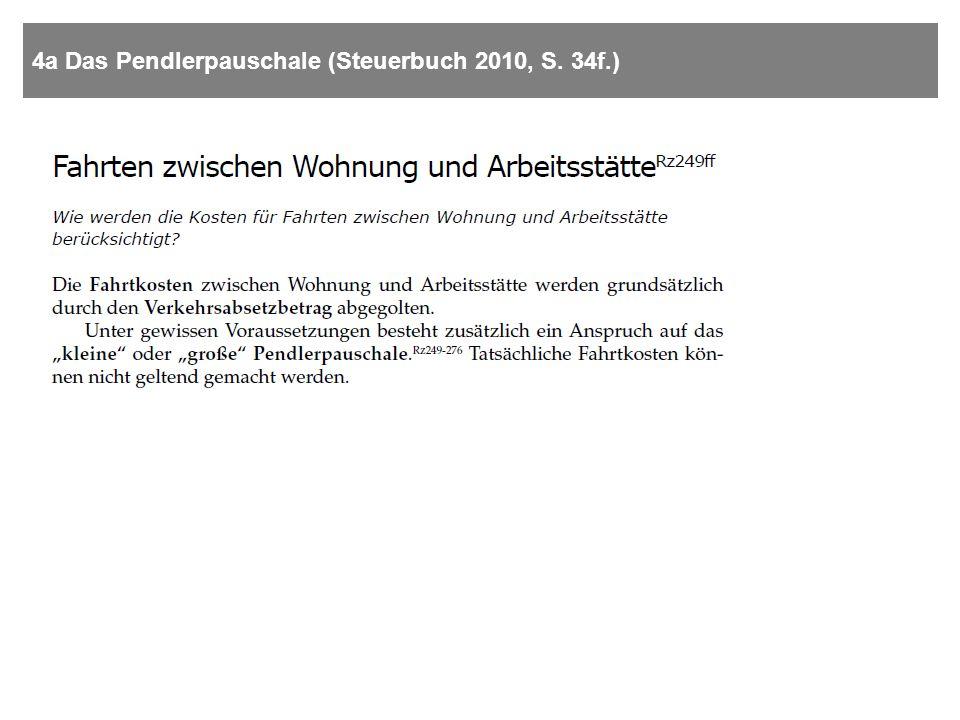 Pendlerpauschales – groß oder klein? (Steuerbuch 2010, S. 34f.)