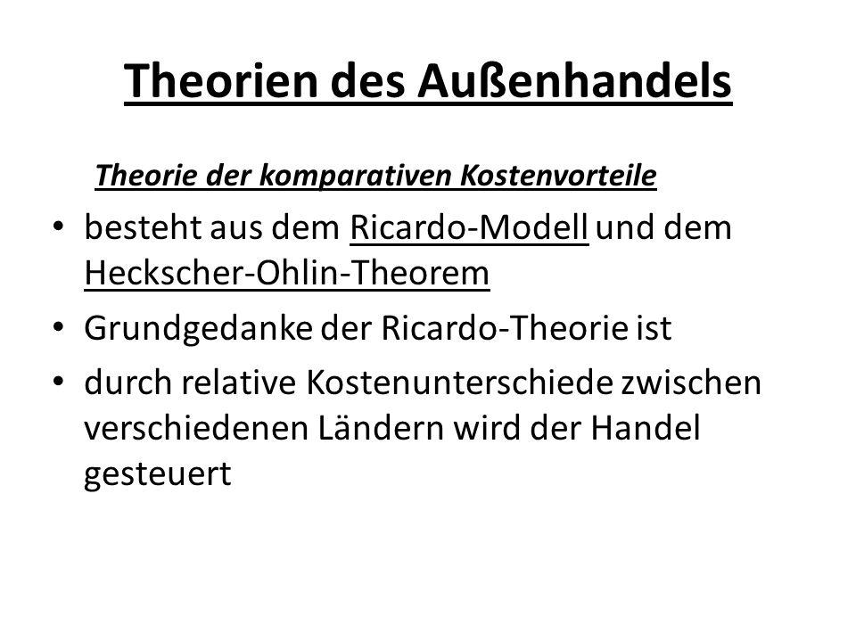 Theorien des Außenhandels Theorie der komparativen Kostenvorteile besteht aus dem Ricardo-Modell und dem Heckscher-Ohlin-Theorem Grundgedanke der Rica