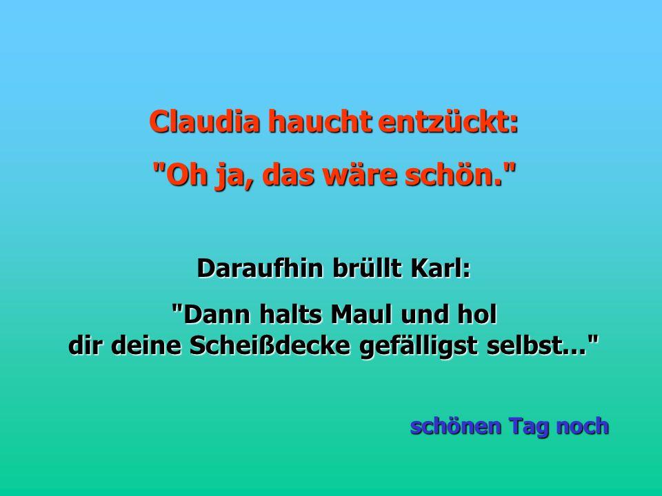 Claudia haucht entzückt: Oh ja, das wäre schön. Daraufhin brüllt Karl: Dann halts Maul und hol dir deine Scheißdecke gefälligst selbst... schönen Tag noch