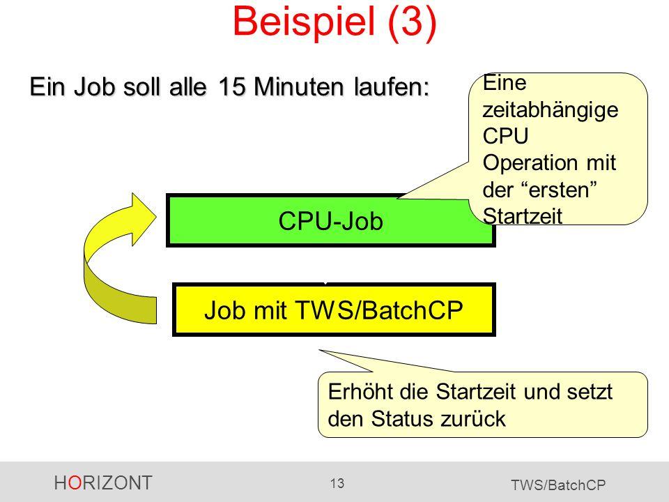 HORIZONT 13 TWS/BatchCP Beispiel (3) Job mit TWS/BatchCP CPU-Job Erhöht die Startzeit und setzt den Status zurück Eine zeitabhängige CPU Operation mit
