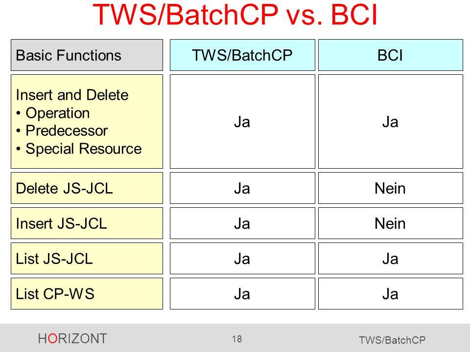 HORIZONT 18 TWS/BatchCP TWS/BatchCP vs. BCI TWS/BatchCPBCI Ja Insert and Delete Operation Predecessor Special Resource JaNein Delete JS-JCL JaNein Ins
