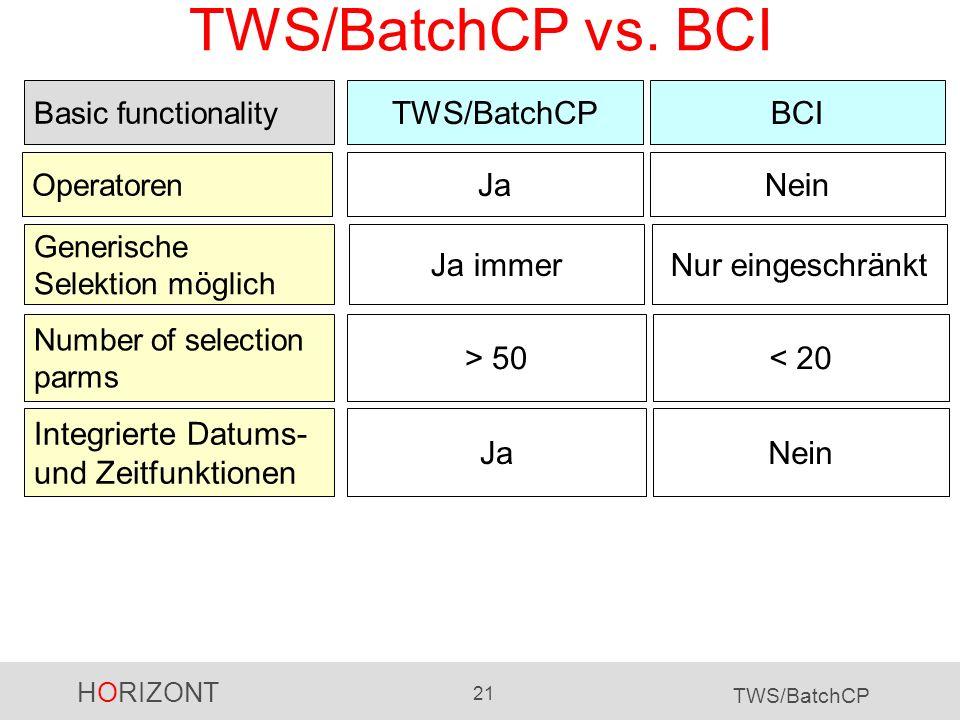 HORIZONT 21 TWS/BatchCP TWS/BatchCP vs. BCI TWS/BatchCP Operatoren BCI JaNein Basic functionality > 50< 20 NeinJa Number of selection parms Integriert
