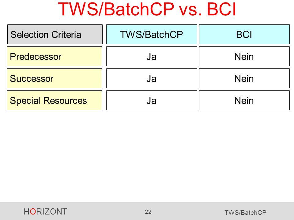 HORIZONT 22 TWS/BatchCP TWS/BatchCP vs. BCI TWS/BatchCPBCI Selection Criteria Predecessor JaNein Successor JaNein Special Resources JaNein