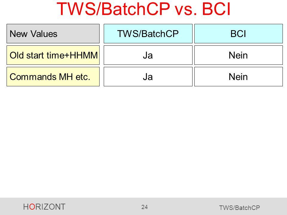 HORIZONT 24 TWS/BatchCP TWS/BatchCP vs. BCI TWS/BatchCPBCI Old start time+HHMM JaNein New Values Commands MH etc. JaNein