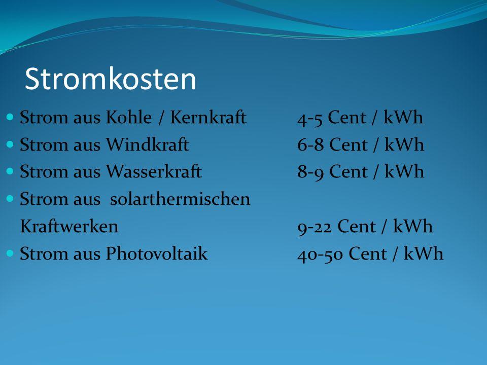 Stromkosten Strom aus Kohle / Kernkraft4-5 Cent / kWh Strom aus Windkraft6-8 Cent / kWh Strom aus Wasserkraft8-9 Cent / kWh Strom aus solarthermischen