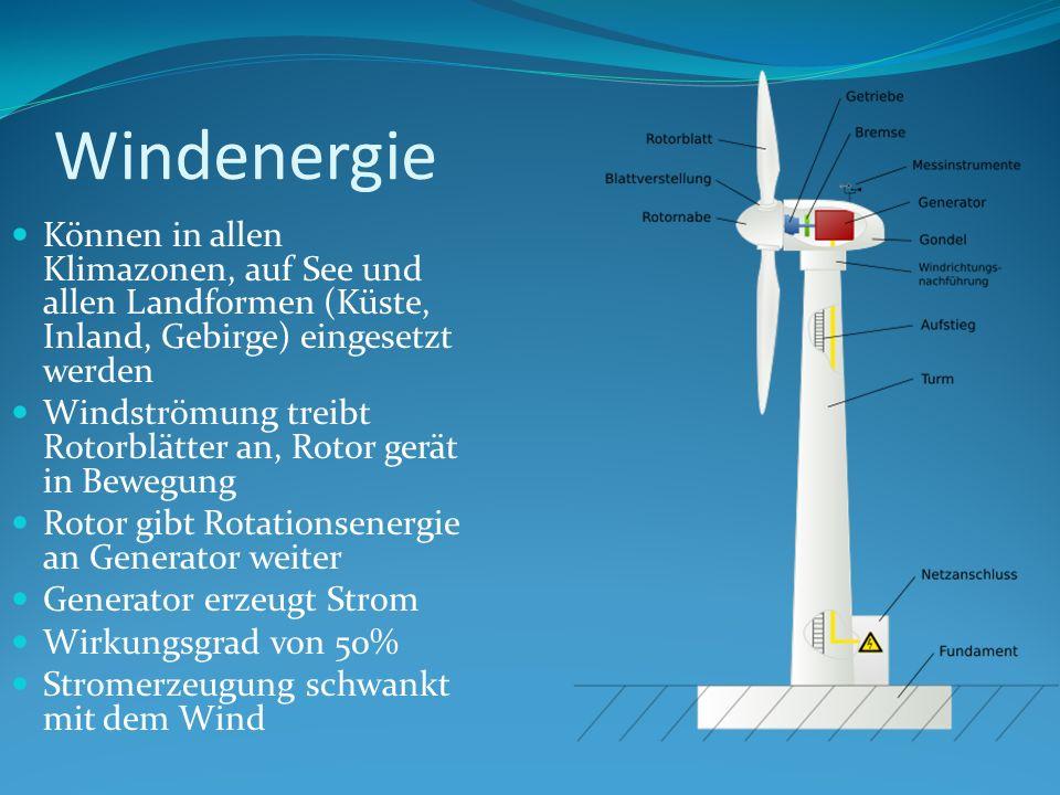 Windenergie Können in allen Klimazonen, auf See und allen Landformen (Küste, Inland, Gebirge) eingesetzt werden Windströmung treibt Rotorblätter an, R