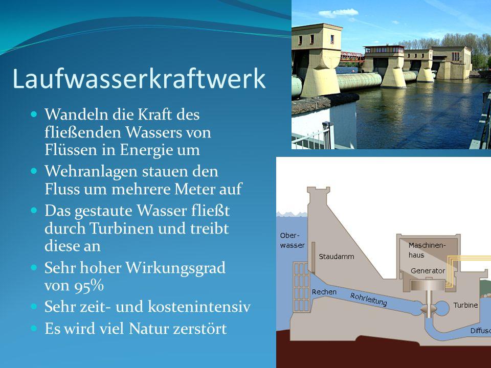Laufwasserkraftwerk Wandeln die Kraft des fließenden Wassers von Flüssen in Energie um Wehranlagen stauen den Fluss um mehrere Meter auf Das gestaute
