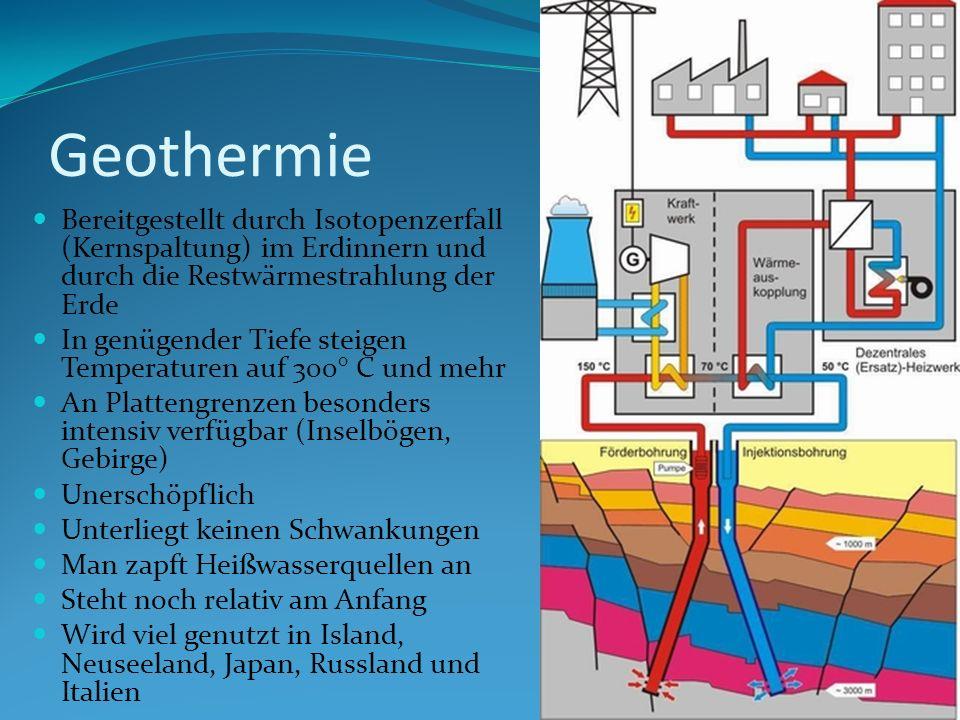 Geothermie Bereitgestellt durch Isotopenzerfall (Kernspaltung) im Erdinnern und durch die Restwärmestrahlung der Erde In genügender Tiefe steigen Temp