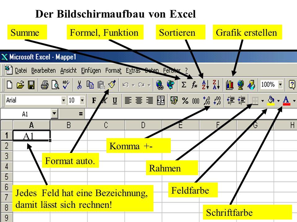 A1 Jedes Feld hat eine Bezeichnung, damit lässt sich rechnen! Der Bildschirmaufbau von Excel Schriftfarbe Feldfarbe Rahmen Format auto. Komma +- Sorti