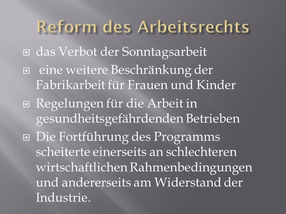 das Verbot der Sonntagsarbeit eine weitere Beschränkung der Fabrikarbeit für Frauen und Kinder Regelungen für die Arbeit in gesundheitsgefährdenden Be