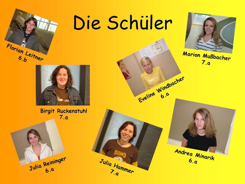 Die Schüler Julia Reininger 6.a Julia Hammer 7.a Andrea Minarik 6.a Eveline Windbacher 6.a Birgit Ruckenstuhl 7.a Marion Mußbacher 7.a Florian Leitner