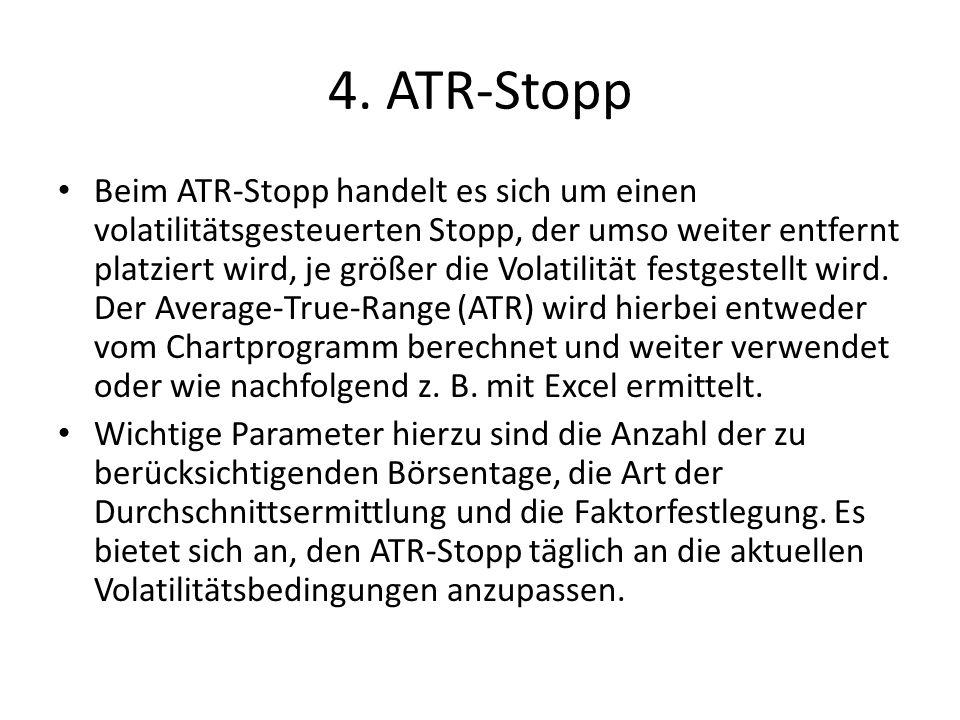 4.1 Berechnungen True High = TH t = Max (H t, C t-1 ) True Low = TL t = Min (L t, C t-1 ) True Range= TR t = TH t - TL t ) ATR= GD t (TR t ) [GD=gleitender Durchschnitt] t=1 – N (zu berücksichtigende Börsentage) Annahme: t=10; Faktor=1,0 Bei LONG-Positionen wird der ATR-Stopp durch Abzug, bei SHORT durch Addition zum Einstiegskurs festgelegt.