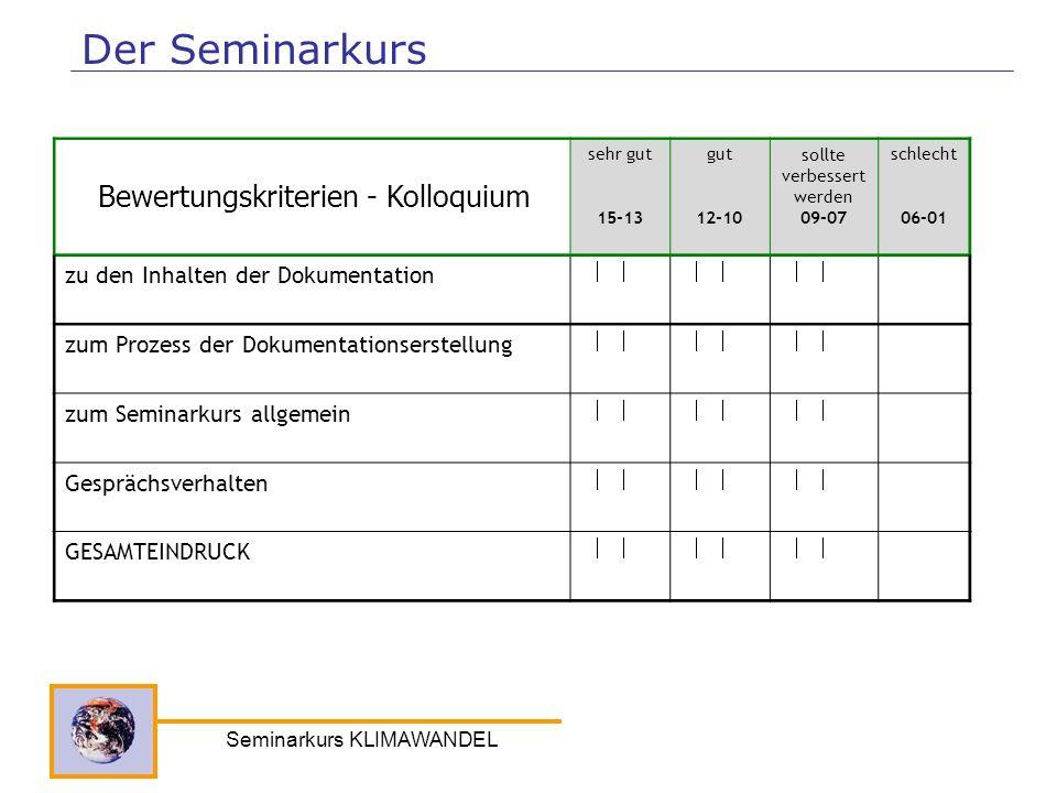 Seminarkurs KLIMAWANDEL Der Seminarkurs sehr gut 15-13 gut 12-10 sollte verbessert werden 09-07 schlecht 06-01 zu den Inhalten der Dokumentation zum P