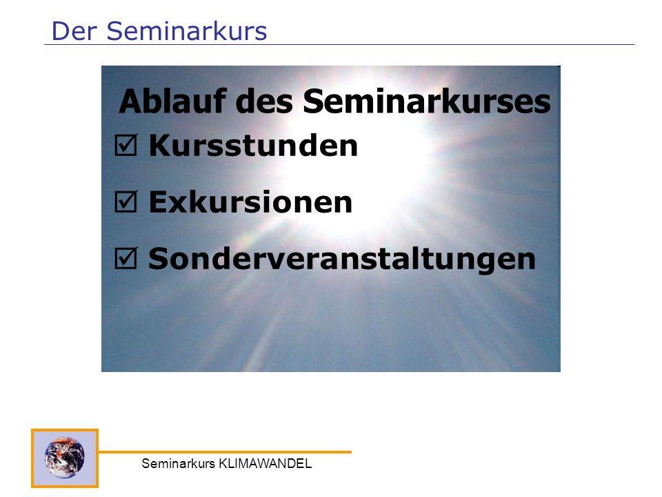 Seminarkurs KLIMAWANDEL Kursstunden Exkursionen Sonderveranstaltungen Ablauf des Seminarkurses Der Seminarkurs