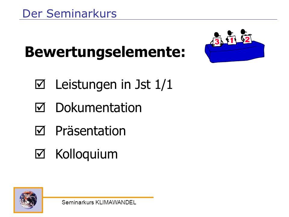 Seminarkurs KLIMAWANDEL Leistungen in Jst 1/1 Dokumentation Präsentation Kolloquium Bewertungselemente: Der Seminarkurs