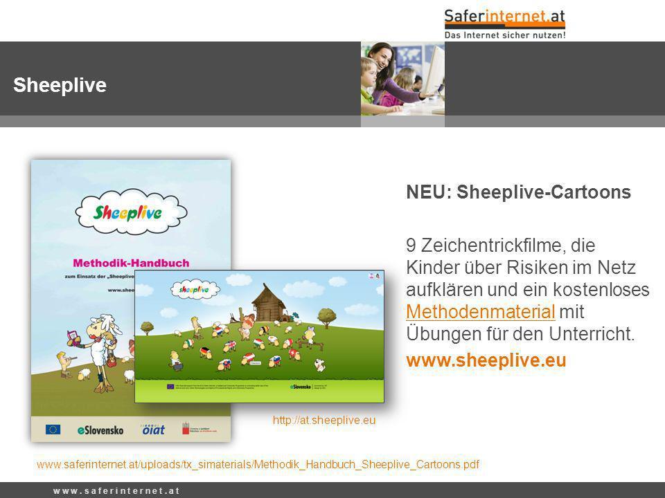 NEU: Sheeplive-Cartoons 9 Zeichentrickfilme, die Kinder über Risiken im Netz aufklären und ein kostenloses Methodenmaterial mit Übungen für den Unterricht.
