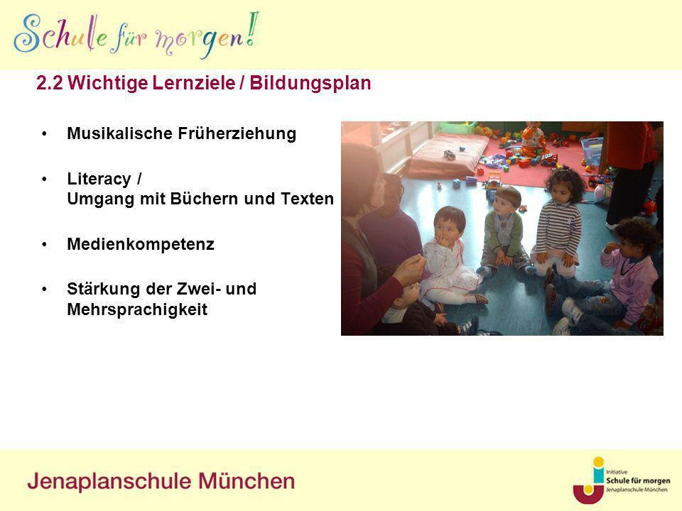 2.2 Wichtige Lernziele / Bildungsplan Musikalische Früherziehung Literacy / Umgang mit Büchern und Texten Medienkompetenz Stärkung der Zwei- und Mehrs