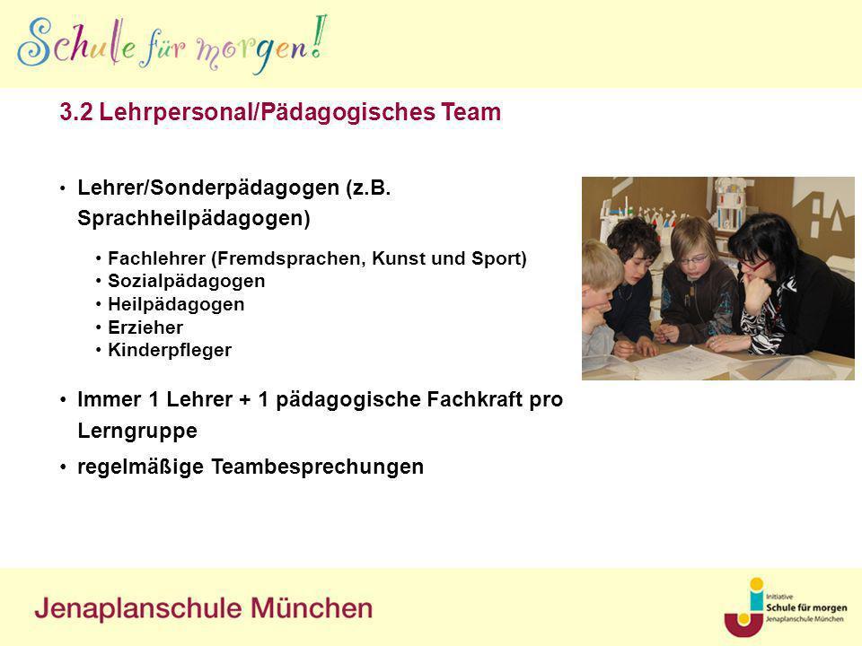 Lehrer/Sonderpädagogen (z.B. Sprachheilpädagogen) Immer 1 Lehrer + 1 pädagogische Fachkraft pro Lerngruppe regelmäßige Teambesprechungen 3.2 Lehrperso