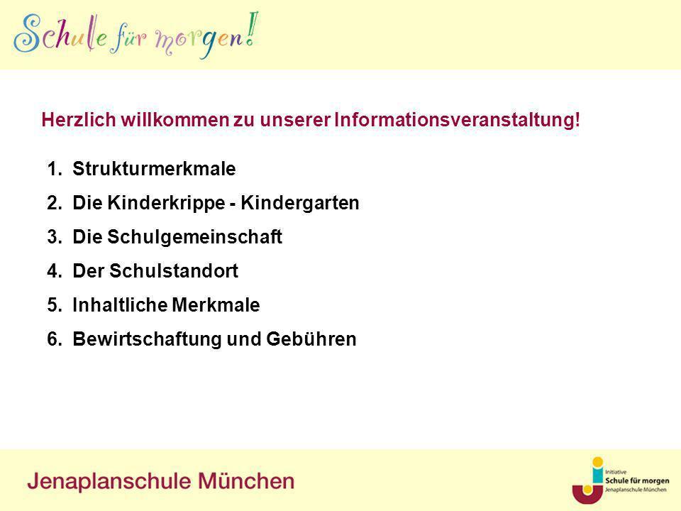 Herzlich willkommen zu unserer Informationsveranstaltung! 1.Strukturmerkmale 2.Die Kinderkrippe - Kindergarten 3.Die Schulgemeinschaft 4.Der Schulstan