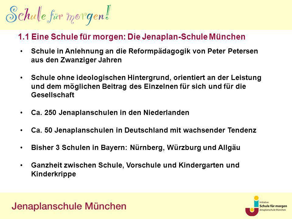 1.1 Eine Schule für morgen: Die Jenaplan-Schule München Schule in Anlehnung an die Reformpädagogik von Peter Petersen aus den Zwanziger Jahren Schule