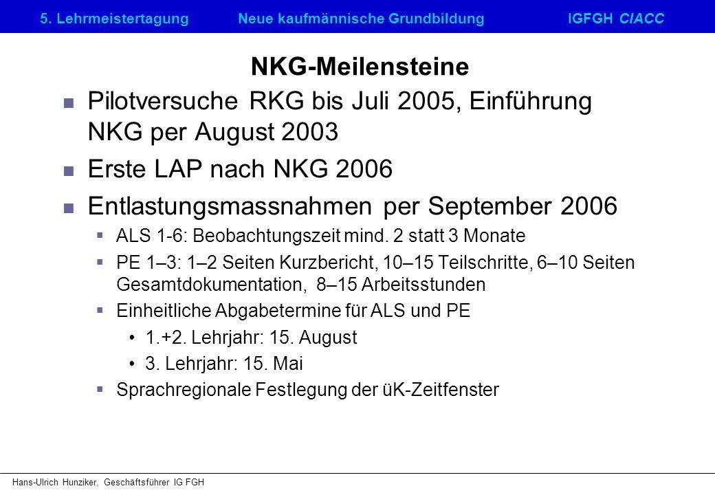 5. LehrmeistertagungNeue kaufmännische GrundbildungIGFGH CIACC Hans-Ulrich Hunziker, Geschäftsführer IG FGH NKG-Meilensteine Pilotversuche RKG bis Jul