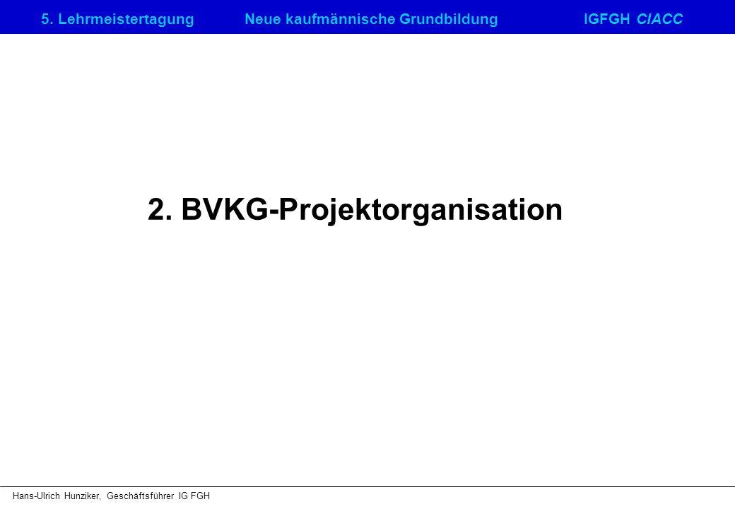 5. LehrmeistertagungNeue kaufmännische GrundbildungIGFGH CIACC Hans-Ulrich Hunziker, Geschäftsführer IG FGH 2. BVKG-Projektorganisation