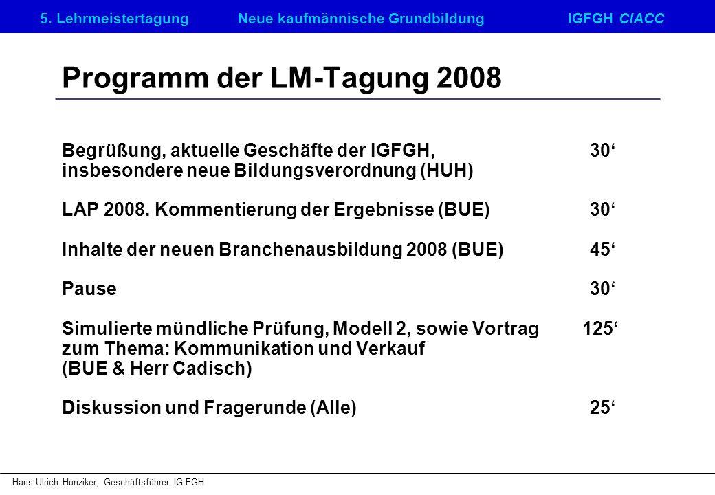 5. LehrmeistertagungNeue kaufmännische GrundbildungIGFGH CIACC Hans-Ulrich Hunziker, Geschäftsführer IG FGH Programm der LM-Tagung 2008 Begrüßung, akt