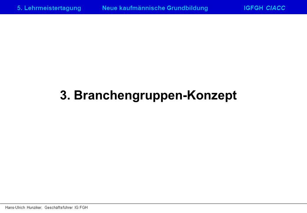 5. LehrmeistertagungNeue kaufmännische GrundbildungIGFGH CIACC Hans-Ulrich Hunziker, Geschäftsführer IG FGH 3. Branchengruppen-Konzept