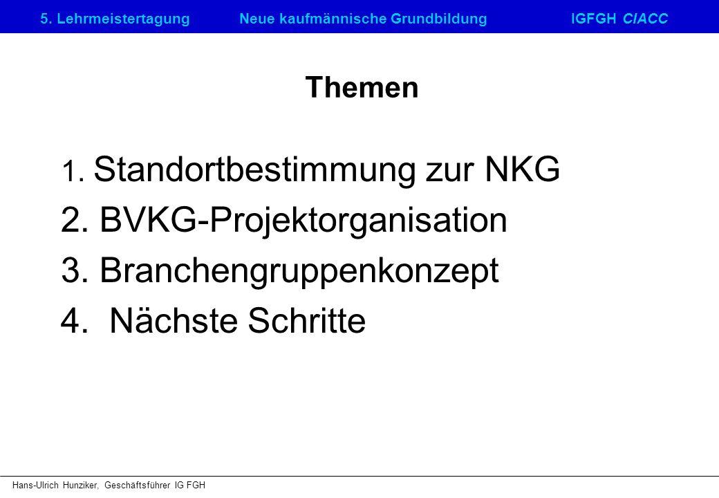 5. LehrmeistertagungNeue kaufmännische GrundbildungIGFGH CIACC Hans-Ulrich Hunziker, Geschäftsführer IG FGH Themen 1. Standortbestimmung zur NKG 2. BV