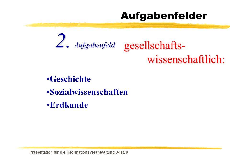 Präsentation für die Informationsveranstaltung Jgst. 9 Aufgabenfelder gesellschafts- wissenschaftlich: Geschichte 2. Aufgabenfeld Erdkunde Sozialwisse