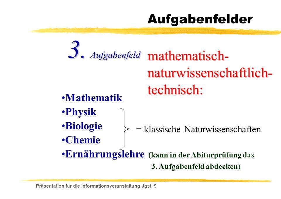 Präsentation für die Informationsveranstaltung Jgst. 9 Aufgabenfelder mathematisch- naturwissenschaftlich- technisch: Mathematik 3. Aufgabenfeld Physi
