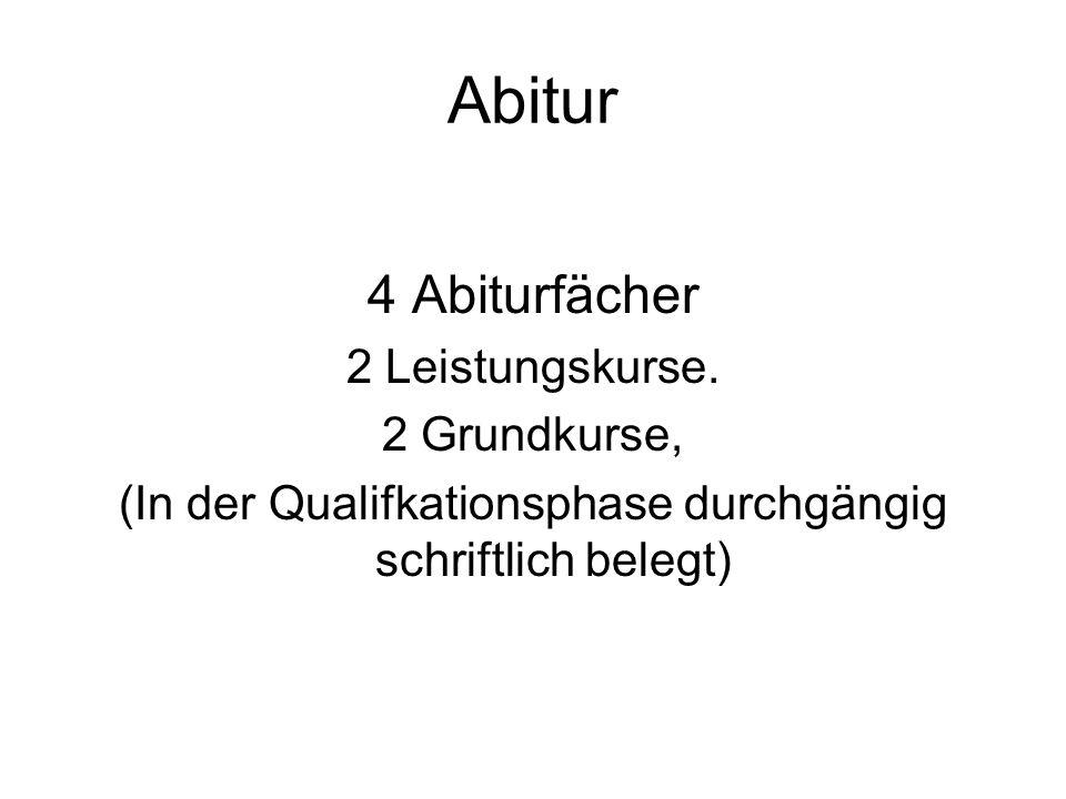Abitur 4 Abiturfächer 2 Leistungskurse. 2 Grundkurse, (In der Qualifkationsphase durchgängig schriftlich belegt)