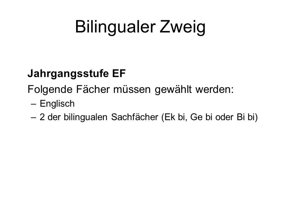 Bilingualer Zweig Jahrgangsstufe EF Folgende Fächer müssen gewählt werden: –Englisch –2 der bilingualen Sachfächer (Ek bi, Ge bi oder Bi bi)