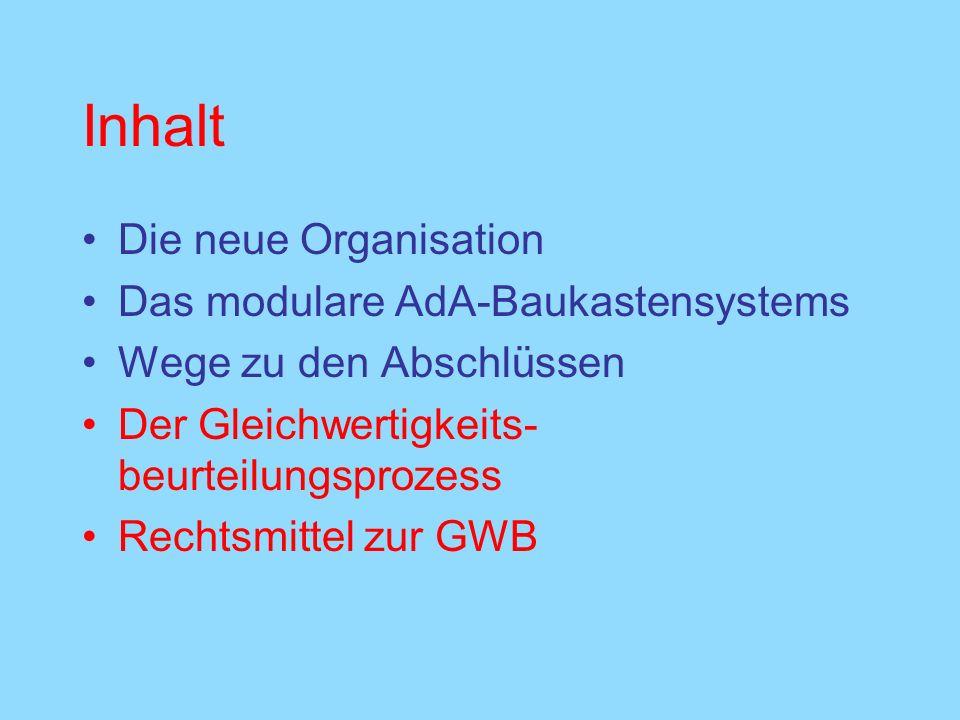 Inhalt Die neue Organisation Das modulare AdA-Baukastensystems Wege zu den Abschlüssen Der Gleichwertigkeits- beurteilungsprozess Rechtsmittel zur GWB