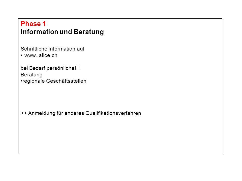 Phase 1 Information und Beratung Schriftliche Information auf www. alice.ch bei Bedarf persönliche Beratung regionale Geschäftsstellen >> Anmeldung fü