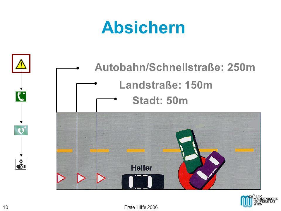 Erste Hilfe 200610 Absichern Autobahn/Schnellstraße: 250m Landstraße: 150m Stadt: 50m ÖRK
