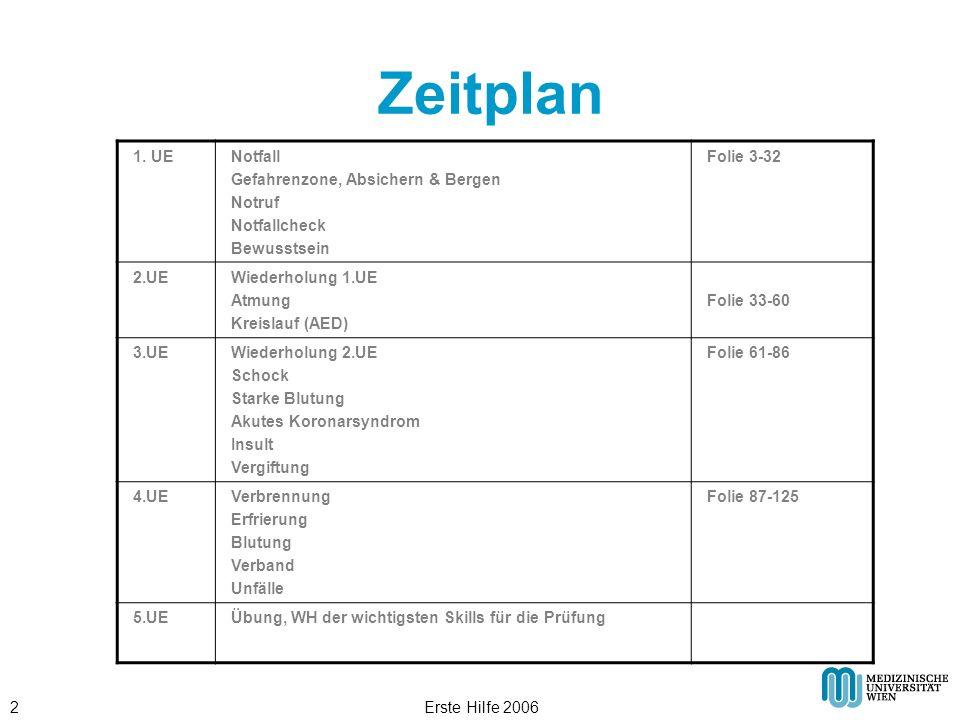 Erste Hilfe 20062 Zeitplan 1. UENotfall Gefahrenzone, Absichern & Bergen Notruf Notfallcheck Bewusstsein Folie 3-32 2.UEWiederholung 1.UE Atmung Kreis