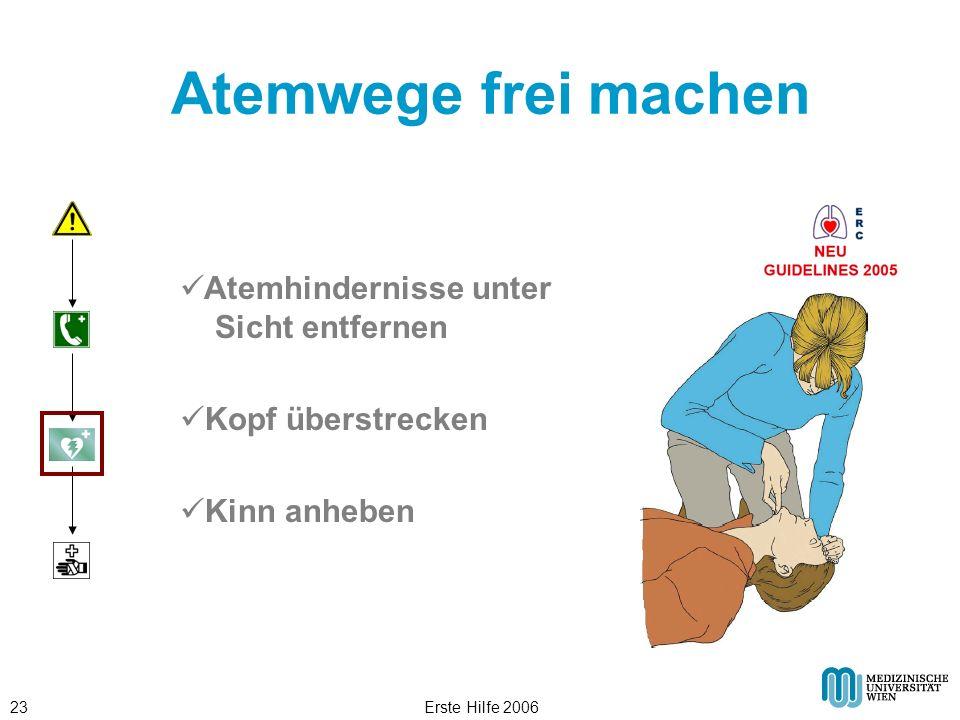 Erste Hilfe 200623 Atemwege frei machen Atemhindernisse unter Sicht entfernen Kopf überstrecken Kinn anheben