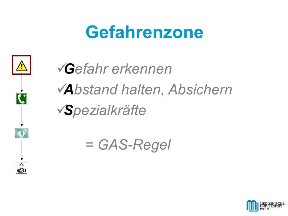 Gefahrenzone Gefahr erkennen Abstand halten, Absichern Spezialkräfte = GAS-Regel