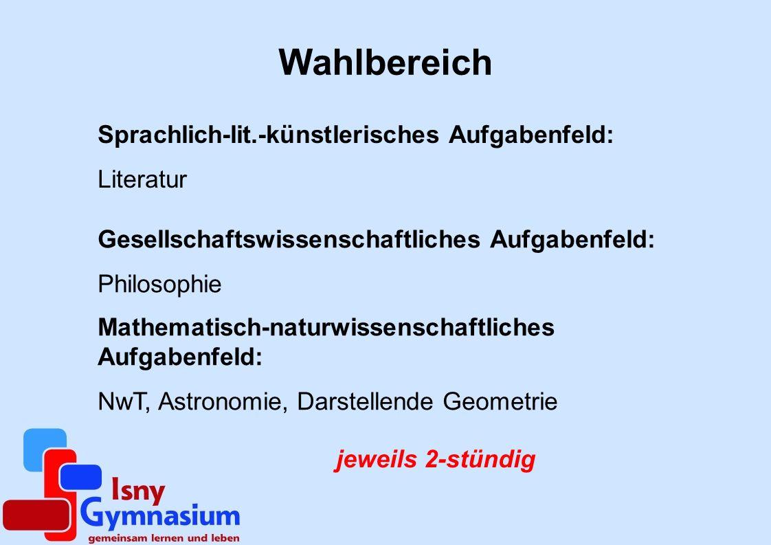 Belegungspflichtige Kurse Deutsch (nur 4-stündig) Mathematik (nur 4-stündig) eine Fremdsprache (nur 4-stündig) 2 Naturwissenschaften Musik oder BK Geschichte Gemeinschaftskunde und Erdkunde Religionslehre / Ethik Sport Müssen als 4- bzw.