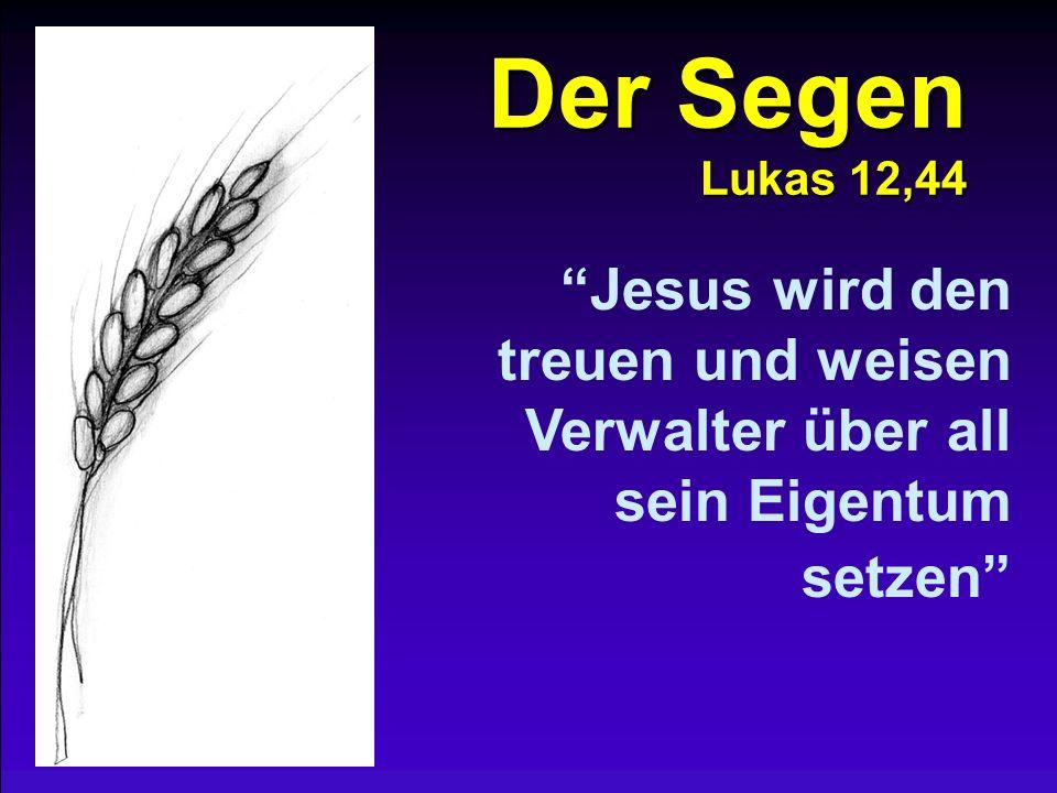 Der Segen Lukas 12,44 Jesus wird den treuen und weisen Verwalter über all sein Eigentum setzen