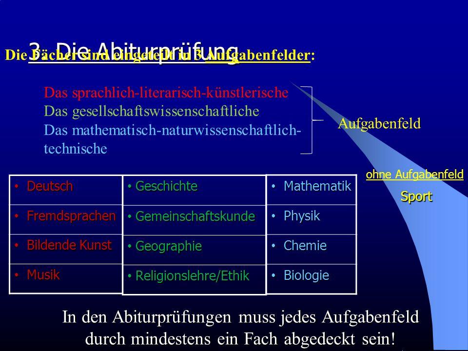3. Die Abiturprüfung Die Fächer sind eingeteilt in 3 Aufgabenfelder: Das sprachlich-literarisch-künstlerische Das gesellschaftswissenschaftliche Das m