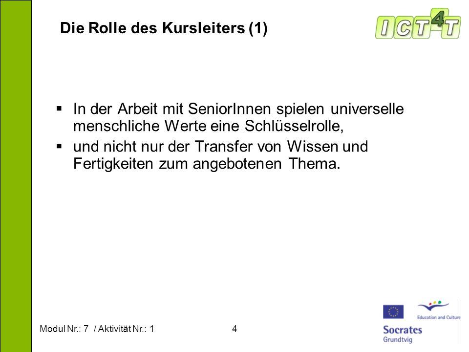 Modul Nr.: 7 / Aktivität Nr.: 15 Die Rolle des Kursleiters (2) Bestimmen der Bedürfnisse der Seniorenstudierenden.